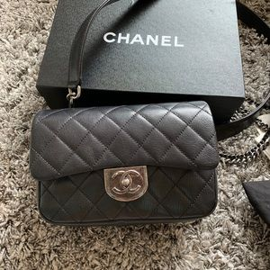 CHANEL Double Carry Chain classic small Flap Black